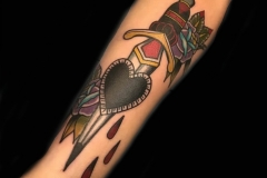 Traditional dagger and heart Tattoo