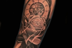 Fine Line Black and Grey Rose and Clock Tattoo