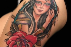Traditional Girlhead Tattoo with Rose