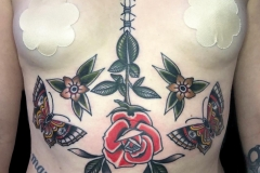 American Traditional Underboob Tattoo